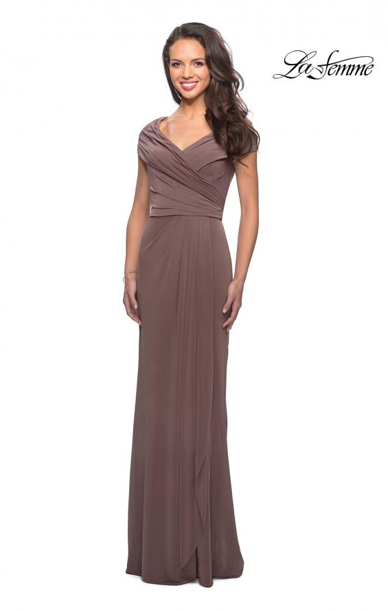 Picture of: Ruched Jersey Long Gown with V-Neckline, Style: 26519, Main Picture