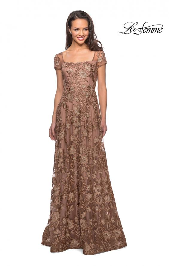 Picture of: Floor Length Short Sleeve Lace Gown in Cocoa, Style: 26582, Main Picture