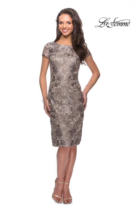 Picture of: Knee Length Lace Dress with Short Sleeves in Cocoa, Style: 27828, Main Picture