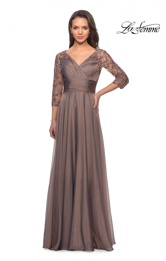 Picture of: Floor Length Chiffon Dress with Lace Sleeves, Style: 27153, Detail Picture 9