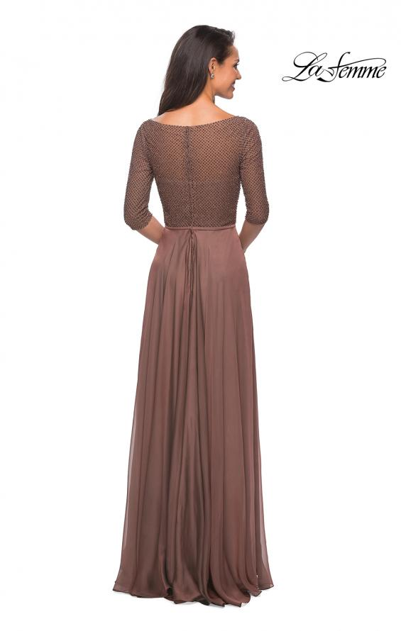 Picture of: Modern gown with beaded bodice and empire waist in Cocoa, Style: 25011, Back Picture