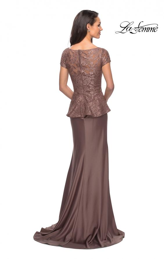 Picture of: Long Satin Dress with Lace Peplum Style Bodice in Cocoa, Style: 25887, Back Picture
