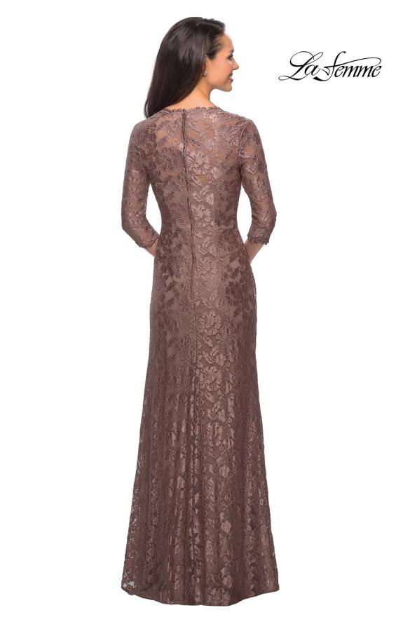 Picture of: Long Lace Gown with Sweetheart Neckline in Cocoa, Style: 26427, Back Picture