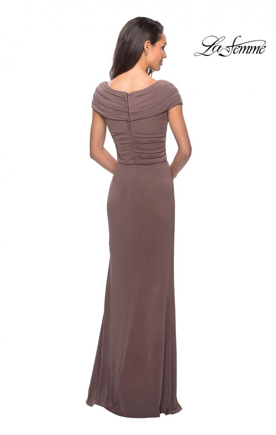 Picture of: Ruched Jersey Long Gown with V-Neckline, Style: 26519, Back Picture