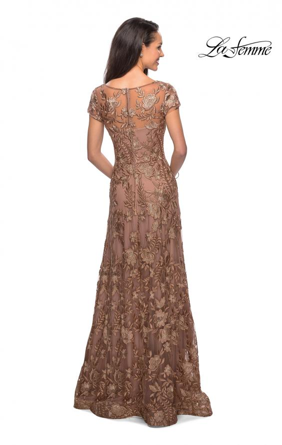 Picture of: Floor Length Short Sleeve Lace Gown in Cocoa, Style: 26582, Back Picture