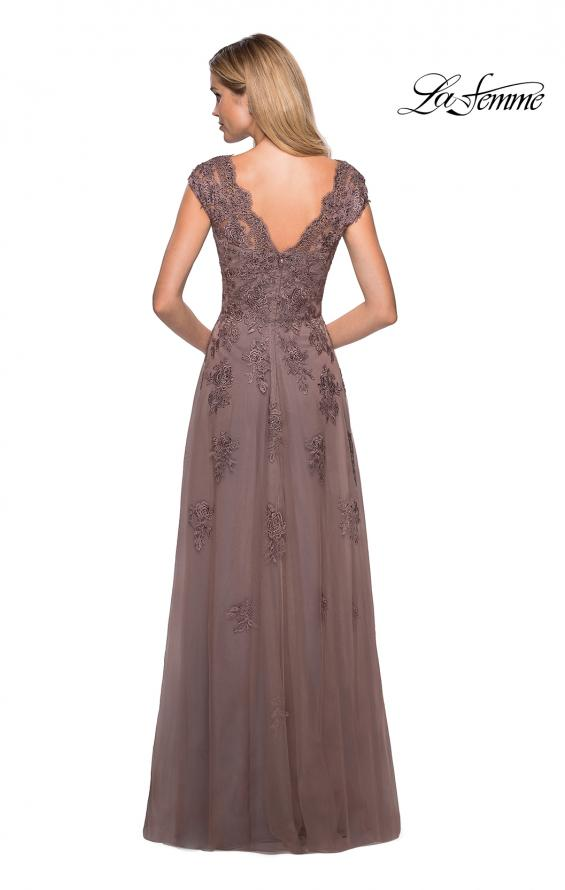 Picture of: Short Sleeve Lace Gown with Cascading Embellishments in Cocoa, Style: 26942, Back Picture