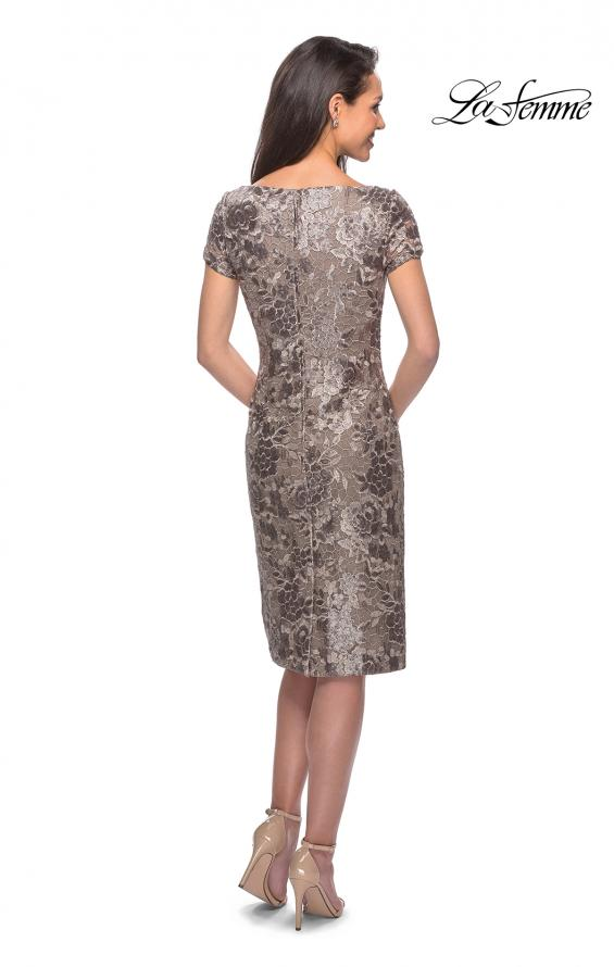 Picture of: Knee Length Lace Dress with Short Sleeves in Cocoa, Style: 27828, Back Picture