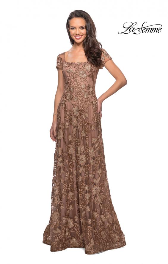 Picture of: Floor Length Short Sleeve Lace Gown in Cocoa, Style: 26582, Detail Picture 1