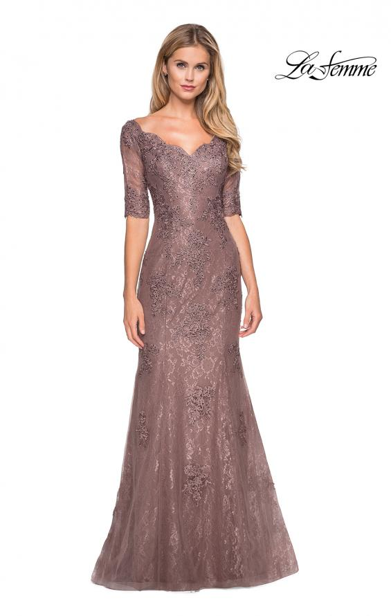 Picture of: Floor Length Lace Dress with Rhinestone Accents, Style: 26943, Detail Picture 1