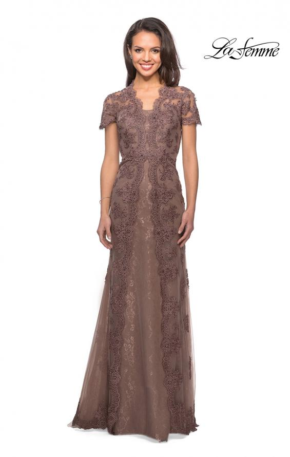 Picture of: Long Lace Evening Dress with Scallop Detailing and Rhinestones in Cocoa, Style: 28195, Detail Picture 1