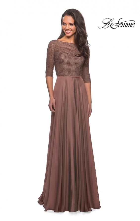 Picture of: Modern gown with beaded bodice and empire waist in Cocoa, Style: 25011, Detail Picture 2