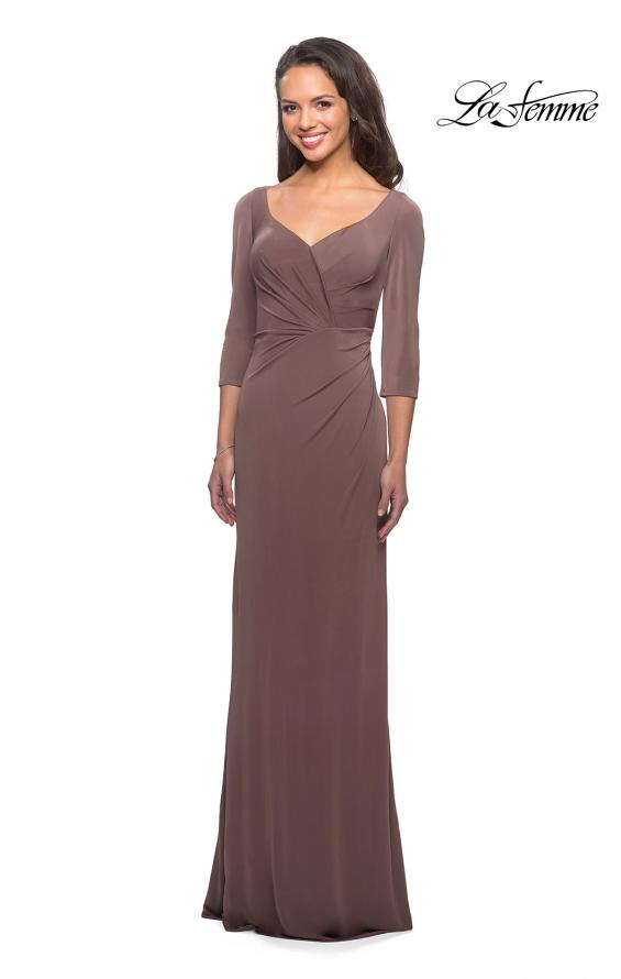 Picture of: 3/4 Sleeve Long Jersey Dress with Sweetheart Neckline, Style: 26955, Detail Picture 2