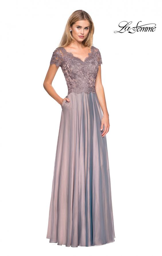 Picture of: Long Chiffon Dress with Lace Bodice and Pockets in Cocoa, Style: 27098, Detail Picture 2