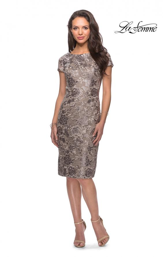 Picture of: Knee Length Lace Dress with Short Sleeves in Cocoa, Style: 27828, Detail Picture 2