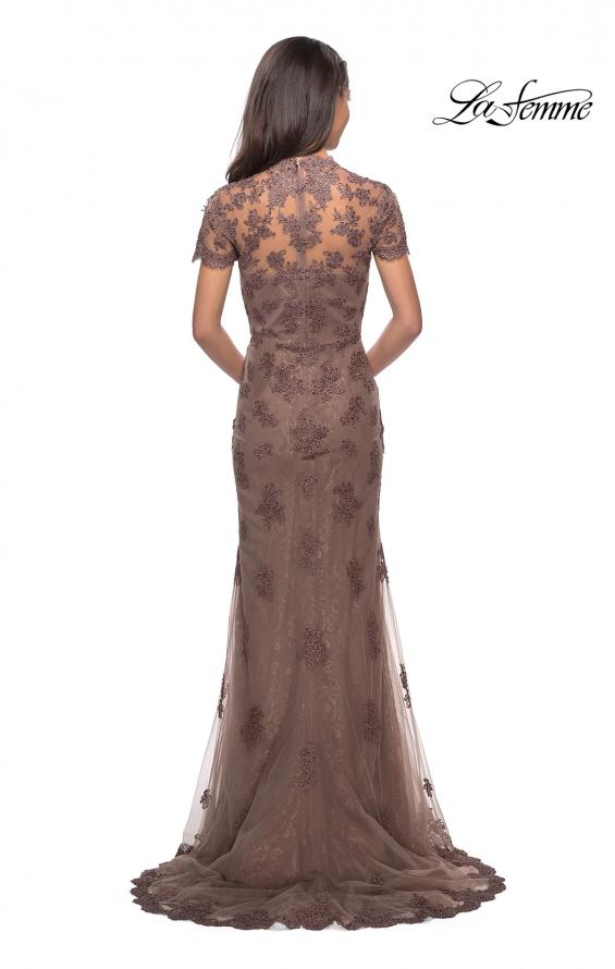 Picture of: Long Lace Evening Dress with Scallop Detailing and Rhinestones in Cocoa, Style: 28195, Detail Picture 2