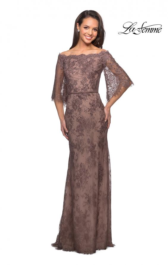 Picture of: Long Lace Gown with Off the Shoulder Flare Sleeves in Cocoa, Style: 25317, Detail Picture 3