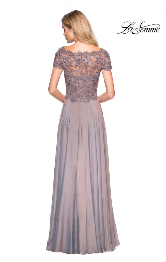 Picture of: Long Chiffon Dress with Lace Bodice and Pockets in Cocoa, Style: 27098, Detail Picture 3