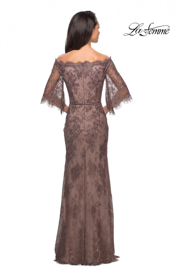 Picture of: Long Lace Gown with Off the Shoulder Flare Sleeves in Cocoa, Style: 25317, Detail Picture 4