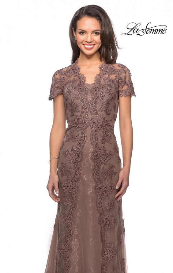 Picture of: Long Lace Evening Dress with Scallop Detailing and Rhinestones in Cocoa, Style: 28195, Detail Picture 4