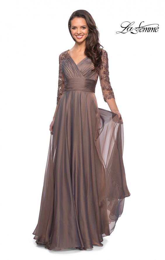Picture of: Floor Length Chiffon Dress with Lace Sleeves, Style: 27153, Detail Picture 7