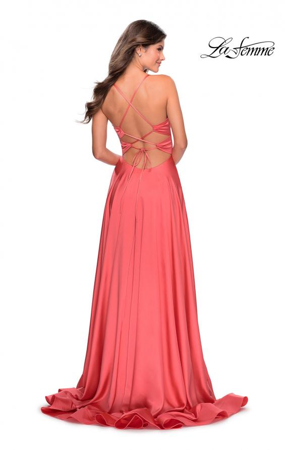 Picture of: Elegant Satin Prom Gown with Empire Waist in Coral, Style: 28571, Back Picture