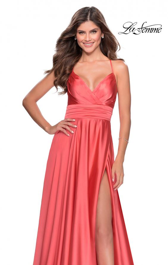 Picture of: Elegant Satin Prom Gown with Empire Waist in Coral, Style: 28571, Detail Picture 5