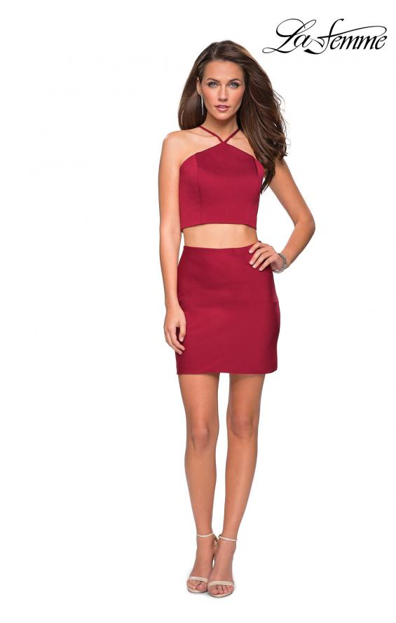 Picture of: Short Two Piece Homecoming Set with Halter Neckline in Cranberry, Style: 26630, Detail Picture 1