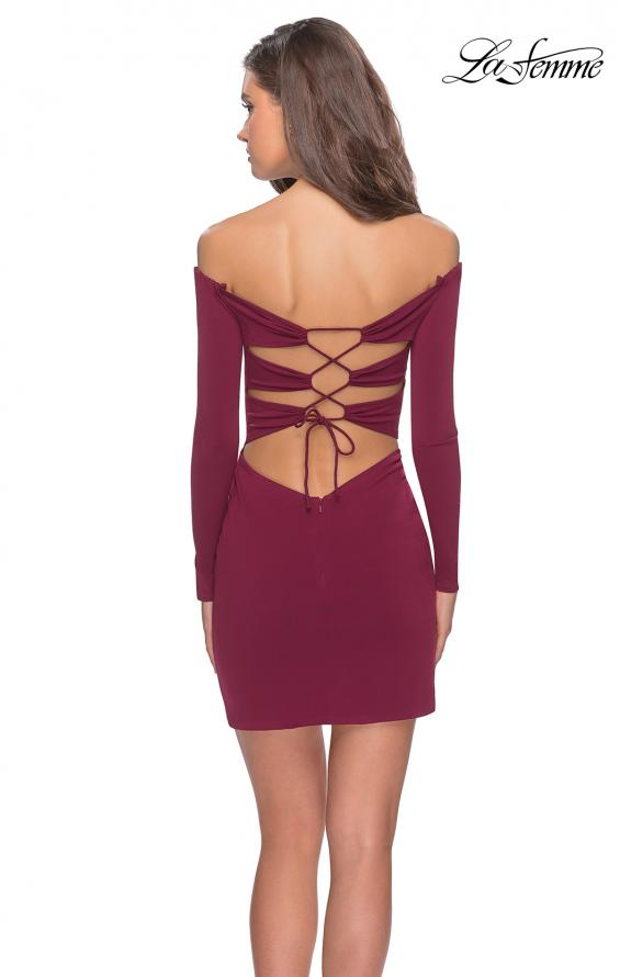 Picture of: Off The Shoulder Long Sleeve Dress with Lace Up Back, Style: 28212, Detail Picture 1