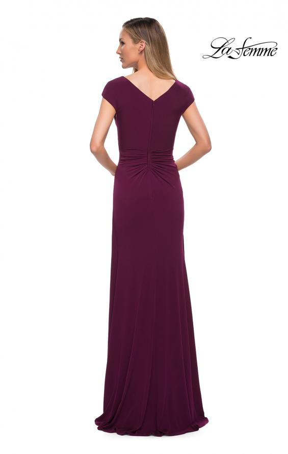 Picture of: Jersey Dress with Knot at Waist and Short Sleeves in Dark Berry, Back Picture