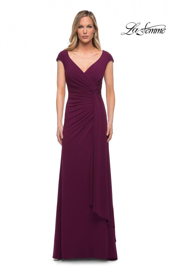Picture of: Jersey Dress with Knot at Waist and Short Sleeves in Dark Berry, Detail Picture 3