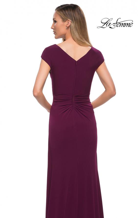 Picture of: Jersey Dress with Knot at Waist and Short Sleeves in Dark Berry, Detail Picture 4
