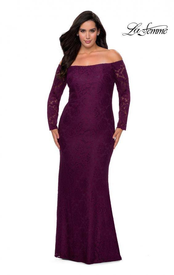 Picture of: Long Sleeve Off The Shoulder Lace Plus Size Dress in Burgundy, Style: 28859, Main Picture