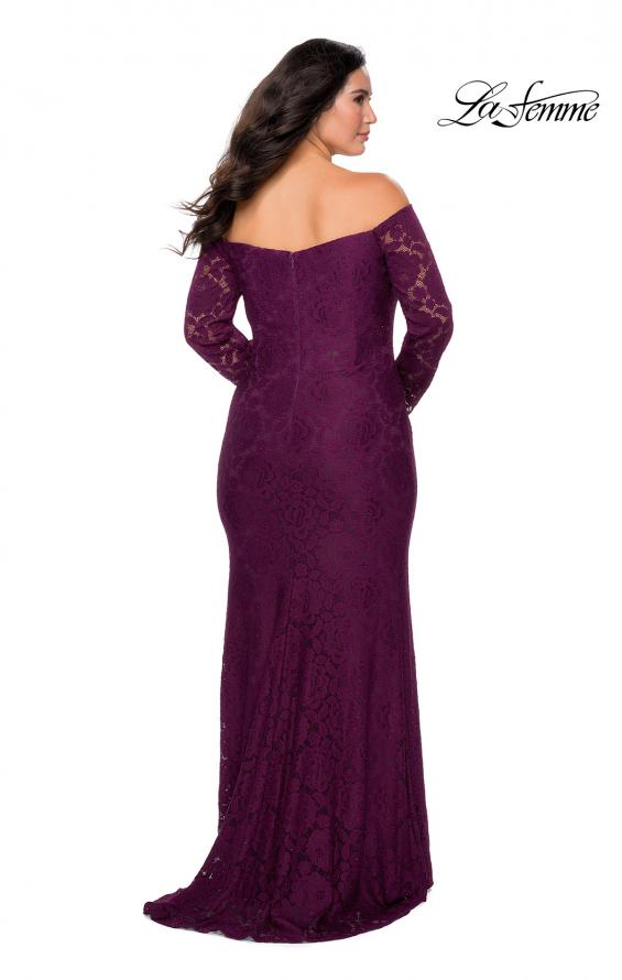 Picture of: Long Sleeve Off The Shoulder Lace Plus Size Dress in Burgundy, Style: 28859, Back Picture