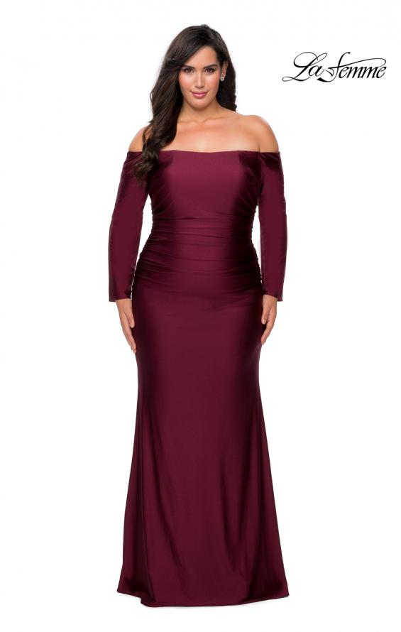 Picture of: Off The Shoulder Jersey Plus Size Long Sleeve Prom Gown in Burgundy, Style: 28881, Detail Picture 1