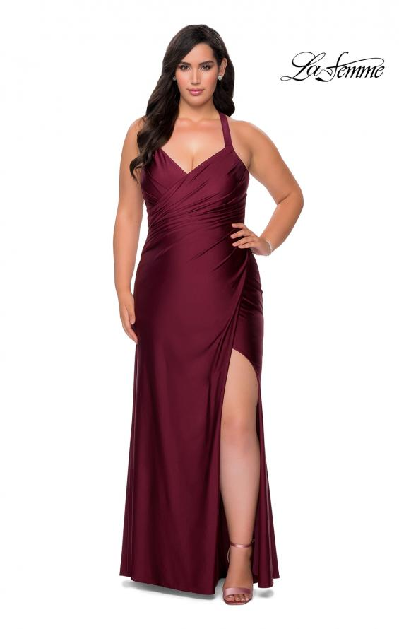 Picture of: Chic Jersey Plus Size Gown with Strappy Back in Burgundy, Style: 29062, Detail Picture 1