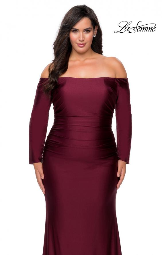 Picture of: Off The Shoulder Jersey Plus Size Long Sleeve Prom Gown in Burgundy, Style: 28881, Detail Picture 4