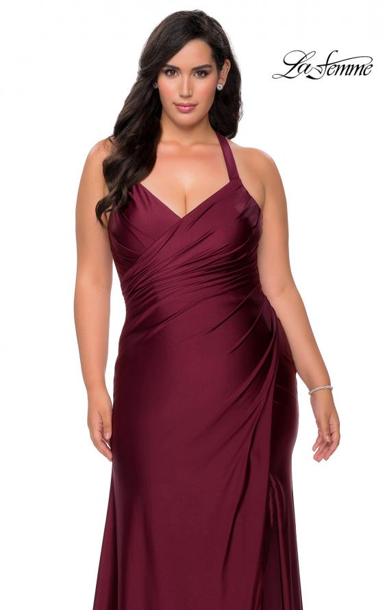 Picture of: Chic Jersey Plus Size Gown with Strappy Back in Burgundy, Style: 29062, Detail Picture 4