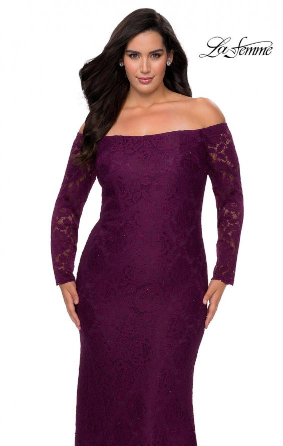 Picture of: Long Sleeve Off The Shoulder Lace Plus Size Dress in Burgundy, Style: 28859, Detail Picture 5