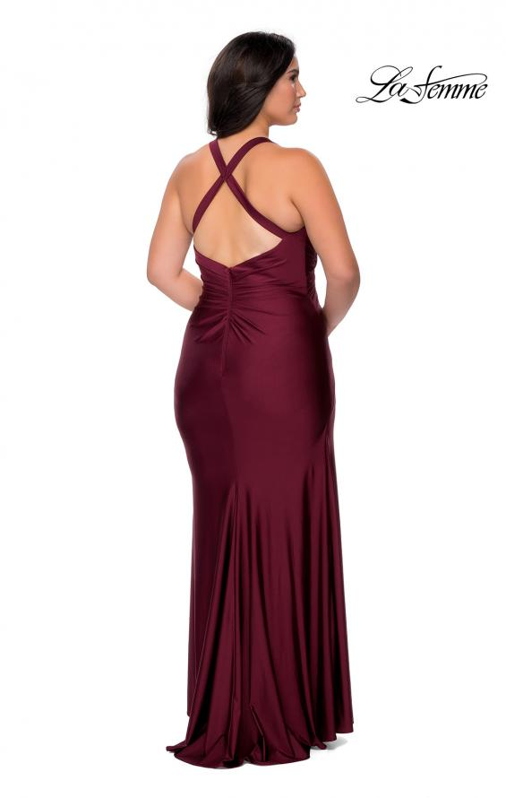 Picture of: Chic Jersey Plus Size Gown with Strappy Back in Burgundy, Style: 29062, Detail Picture 5