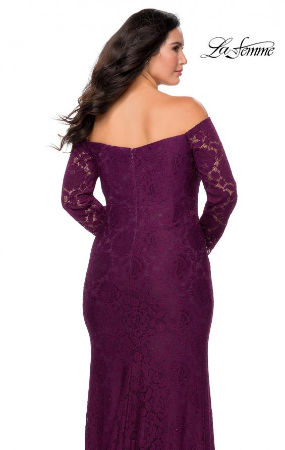 Picture of: Long Sleeve Off The Shoulder Lace Plus Size Dress in Burgundy, Style: 28859, Detail Picture 6