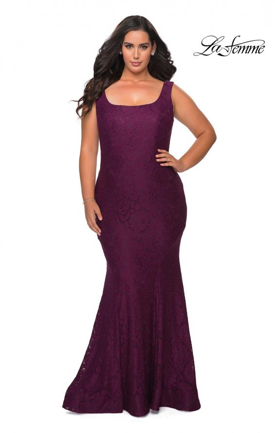 Picture of: Stretch Lace Plus Size Prom Gown with Beading in Burgundy, Style: 28948, Detail Picture 6