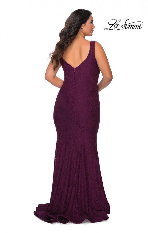 Picture of: Stretch Lace Plus Size Prom Gown with Beading in Burgundy, Style: 28948, Detail Picture 7