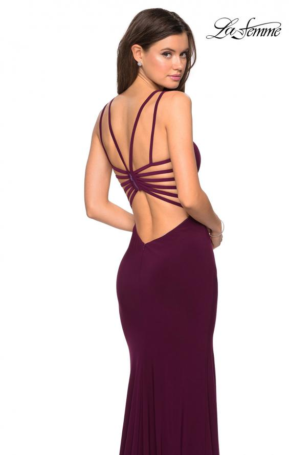 Picture of: Sultry Long Dress with Intricate Strappy Back in Burgundy, Style: 27072, Main Picture