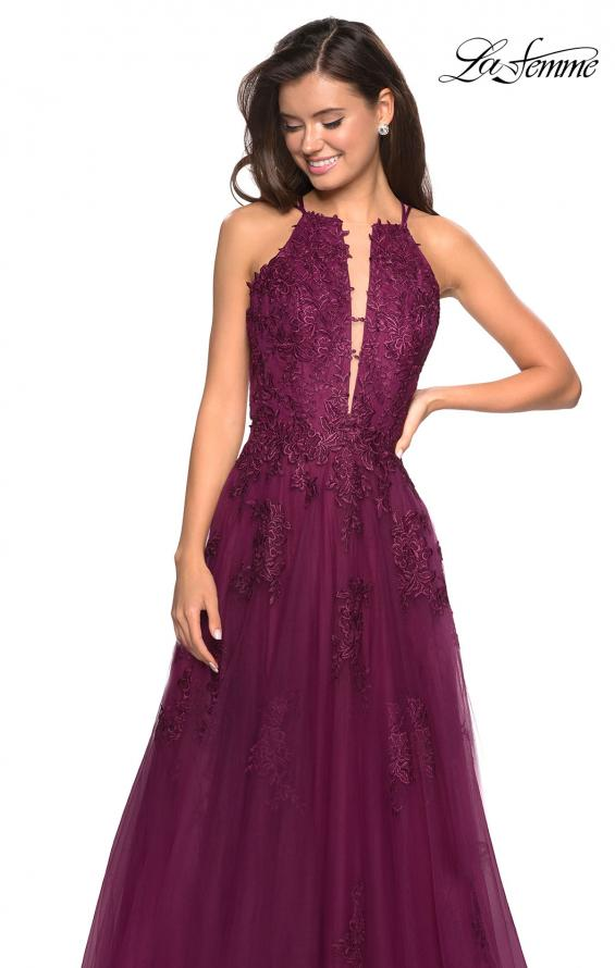 Picture of: Tulle Prom Dress with Lace Bodice and Strappy Back in Burgundy, Style: 27143, Main Picture