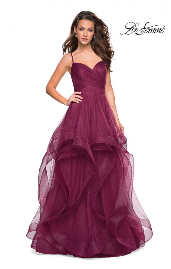 Picture of: Cascading Tulle Formal Gown with Sweetheart Neckline in Burgundy, Style: 27223, Main Picture