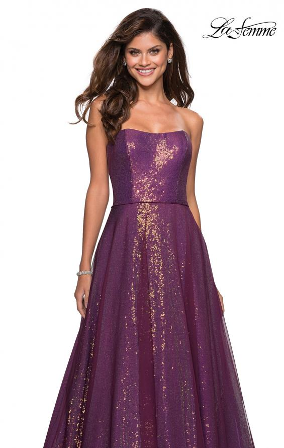 Picture of: A Line Fully sequin Strapless Prom Gown in Burgundy, Style: 27296, Main Picture