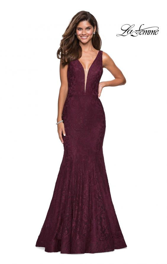 Picture of: Stretch Lace Prom Dress with Plunging Neckline, Style: 27464, Main Picture
