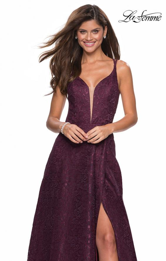 Picture of: Lace Prom Dress with Illusion Neckline and Slit in Burgundy, Style: 27612, Main Picture