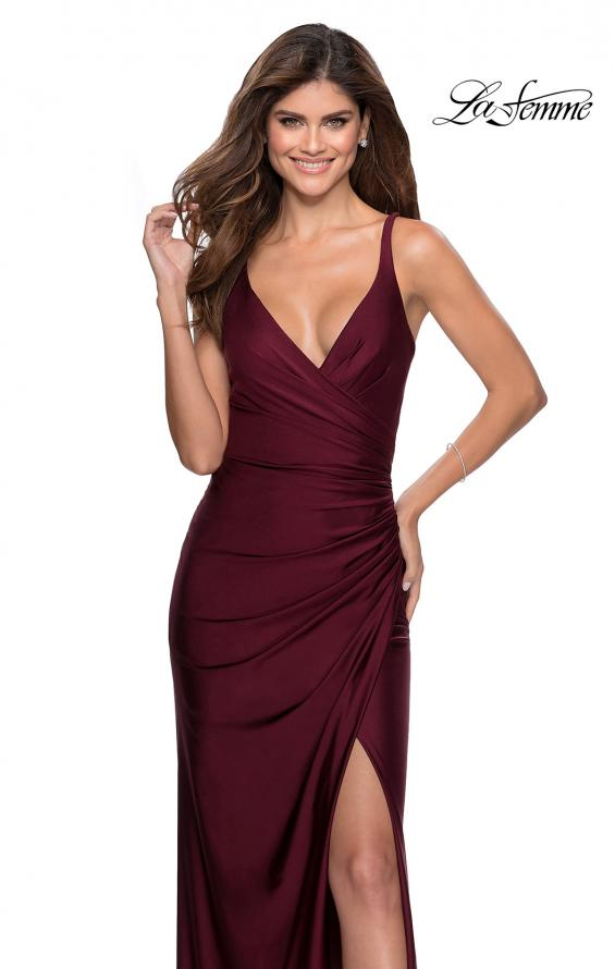 Picture of: Ruched Jersey Prom Dress with Tie Up Back in Burgundy, Style: 28421, Main Picture