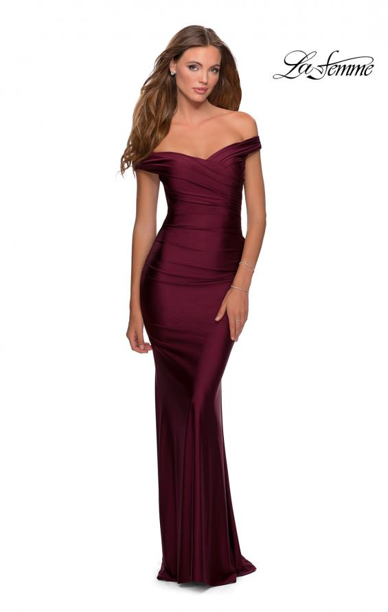 Picture of: Off the Shoulder Prom Dress with Sweetheart Neckline in Burgundy, Style: 28450, Main Picture